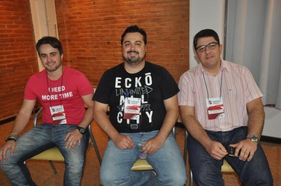 Guilherme Gloss, da Reisen Tour, Diego Bauk, da Griffe Turismo e Marcos Lucas, da Vencestur