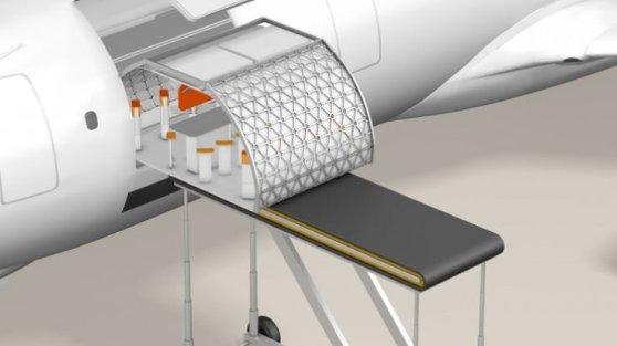 Nesta animação, por exemplo, podemos ver o módulo de um possível bar sendo instalado para o próximo voo
