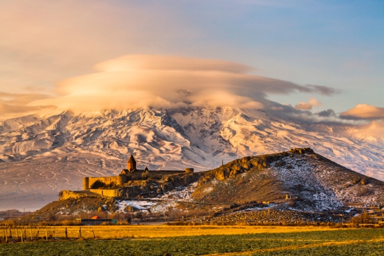 Armenian church with Aarrat mountain at sunrise