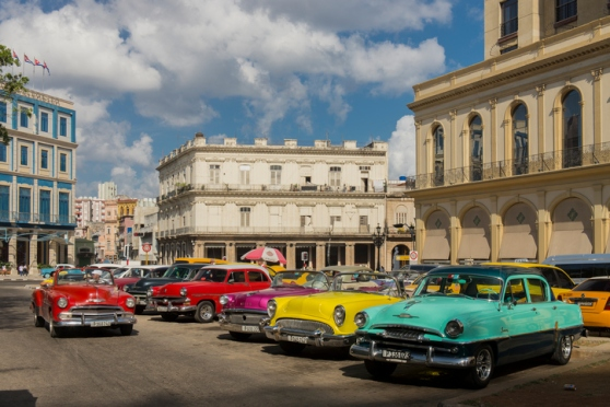 Old cars at Central Park (Parque Central), Havana, Cuba