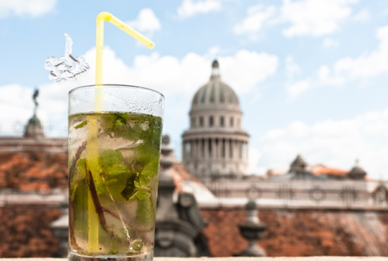 Mojito Cocktail, with Capitolio in the Background