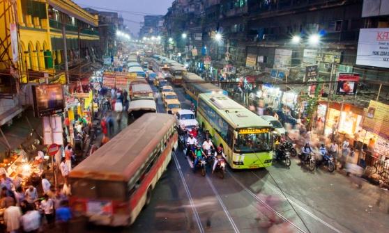 Dark city traffic at late evening in Kolkata