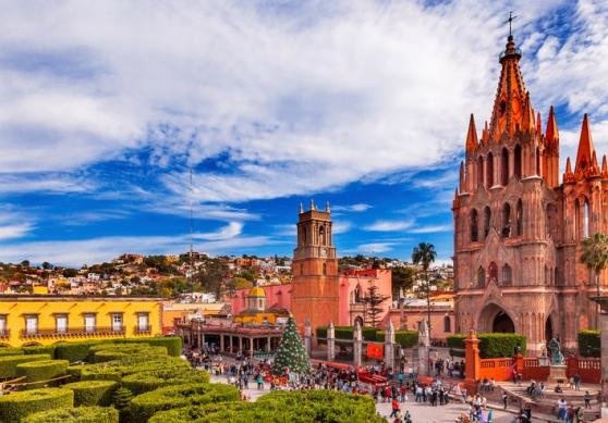 San Miguel de Allende, Mexico - December 27, 2014: Parroquia Archangel church Jardin Town Square San Miguel de Allende, Mexico. Parroaguia created in 1600s.