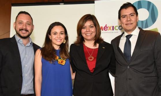Sebastián Bremont, Alejandra Carranza, Diana Pomar e Gabriel López, do Conselho de Promoção Turística do México