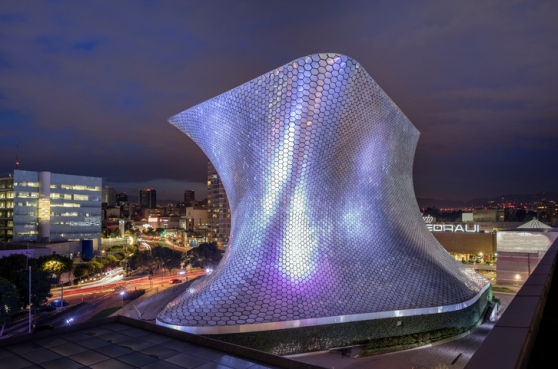 The Soumaya Museum in Mexico City at night.