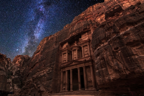 Ancient Petra on the background of the night starry sky